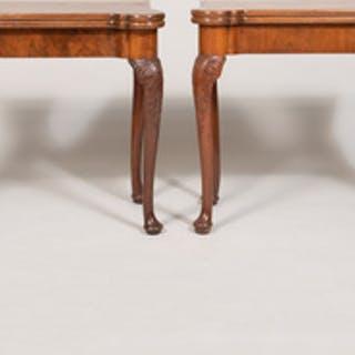 Near Pair of George I Style Walnut Card Tables