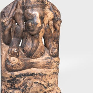 Indian Painted Marble Figure Of Ganesha, Probably Rajasthan