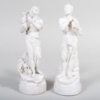 Pair of Continental Bisque Porcelain Mythological Figures