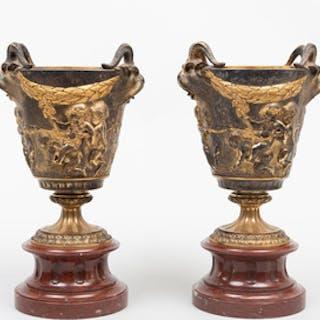 Pair of Napoleon III Gilt-Bronze Urns on Marble Socles