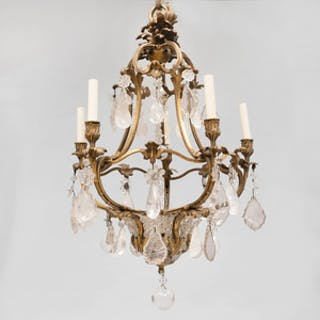 Louis XV Style Gilt-Bronze-Mounted Rock Crystal, Cut and Beaded Glass