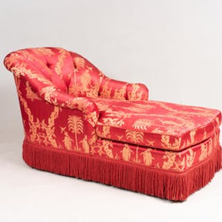 Red Damask Chaise Lounge with Fringe Apron