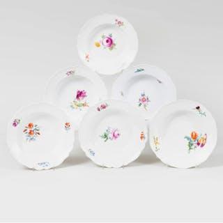 Six Meissen Marcolini Porcelain Soup Plates