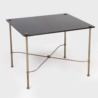 Maison Jansen Style Brass-Mounted Black Glass Side Table