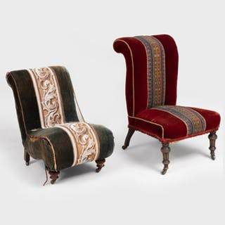 Two Beaded and Velvet Upholstered Victorian Side Chairs