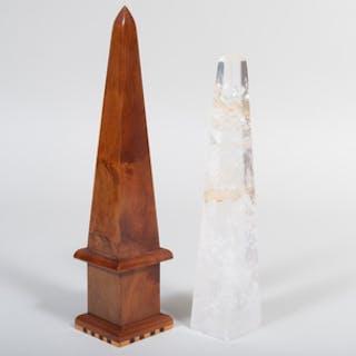 Rock Crystal Obelisk and a Walnut Obelisk