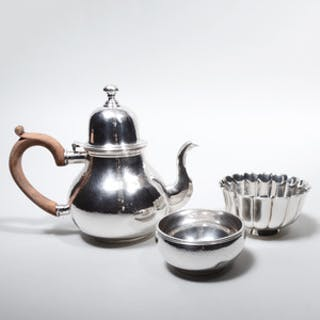Bulgari English Silver Part Tea Service and an Bulgari Italian Lobed Bowl