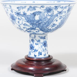 Chinese Porcelain Blue and White Stem Cup