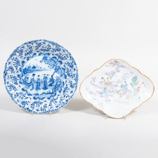Chinese Porcelain Famille Rose Shaped Dish and a Chinese Porcelain
