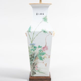 Chinese Porcelain Famille Rose Vase Mounted as a Lamp