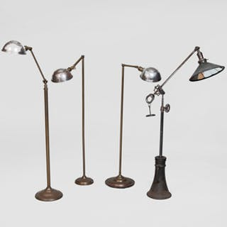 Group of Four Brass and Metal Retractable Floor Lamps