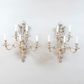 Pair of Silver Plated Five-Light Wall Sconces with Cherub Form Terminals