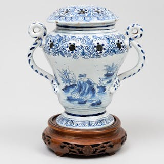 Continental Tin Glazed Earthenware Potpourri Vase and Cover