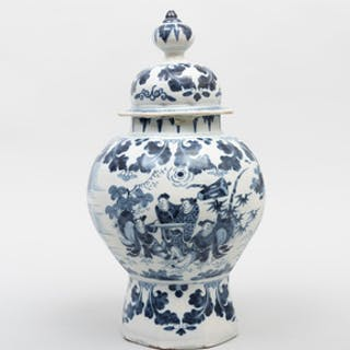 Dutch Delft Blue and White Baluster Vase and Cover
