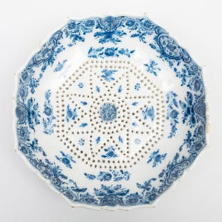 Dutch Delft Blue and White Octagonal Pierced Footed Strainer