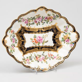 English Derby Porcelain Lozenge Shaped Dessert Dish, Probably Chelsea