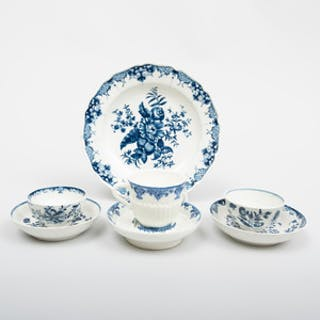Group of Worcester Blue and White Porcelain Wares