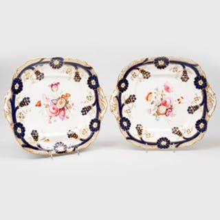 Pair of English Porcelain Shaped Square Plates