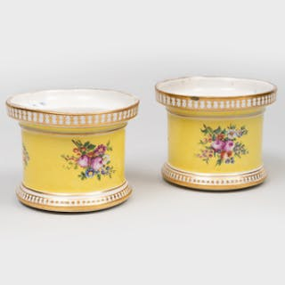 Pair of Small English Porcelain Yellow Ground Jars