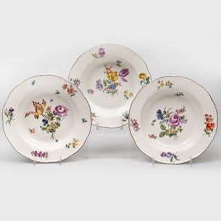 Three Meissen Porcelain Soup Plates