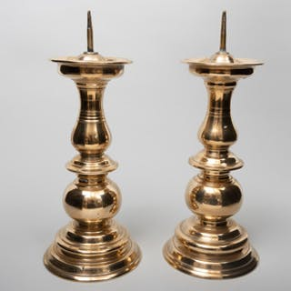 Pair of Continental Baroque Bronze Pricket Candlesticks, Possibly Dutch