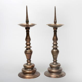 Pair of Continental Baroque Brass Pricket Sticks, Possibly Spanish