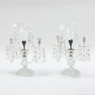 Pair of Cut Glass Two-Light Candelabra