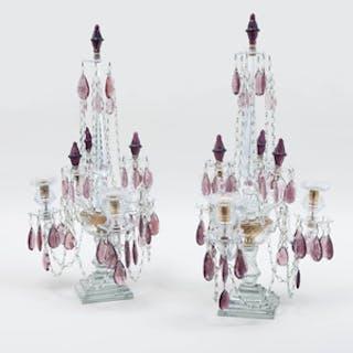 Pair of George III Style Clear and Amethyst Cut Glass Three-Light Girandoles