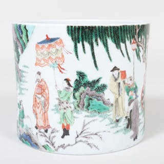 Chinese Porcelain Famille Verte Brush Pot