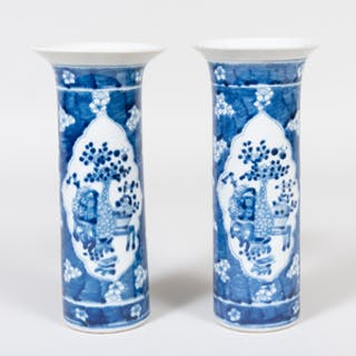 Pair of Chinese Porcelain Blue and White Beaker Vases
