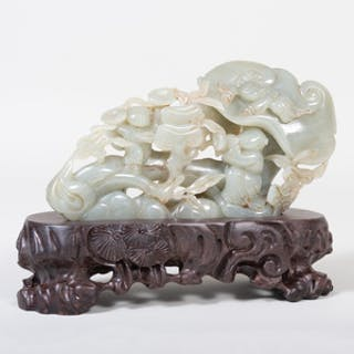 Chinese Jade Group with Boys Amongst Clouds