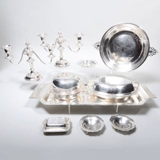 Pair of Silver Lobed Dishes and Silver Plate Table Articles