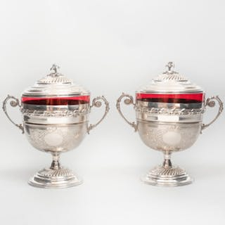 Pair of Egyptian Silver and Ruby Glass Cups and Covers