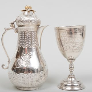 Turkish Silver Coffee Pot and a Goblet
