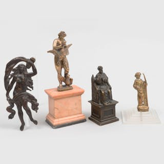 Group of Four Bronze and Brass Table Articles