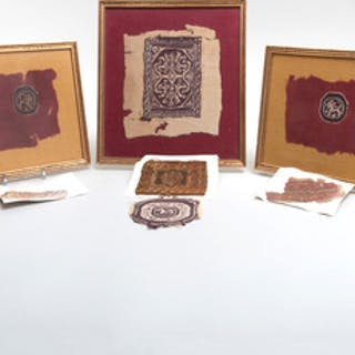 Group of Three Coptic Textiles together with a Group of Unframed Coptic