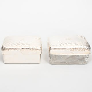 Two Silver Mounted Boxes with Arabic Script Monogram