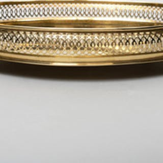 English Brass Oval Pierced Footed Tray