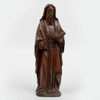 Continental Carved Wood Figure of Christ