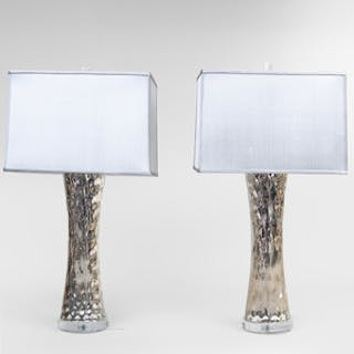 Pair of C. Damien Fox Mercury Glass Lamps