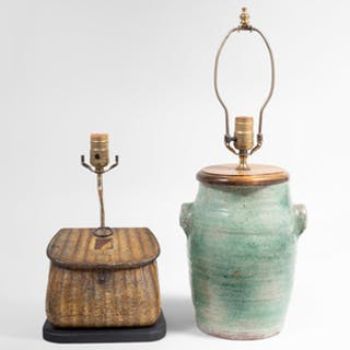 Huntly & Palmer Creel Form Biscuit Tin and a Pottery Crock Each Mounted