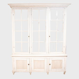 Swedish Neoclassical Style White Painted Cabinet with a Triple Glazed
