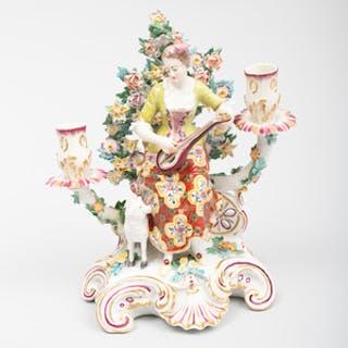 Chelsea Porcelain Figural Two-Light Candelabra 'The Shepherdess'