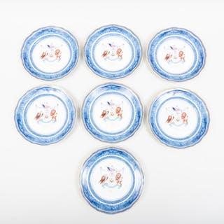 Set of Seven Mottahedeh Porcelain Plates Transfer Printed with Holland