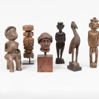 Group of Five Ethnographic Wood Figures