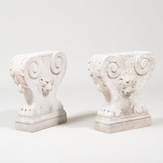 Pair of Carved Stone Bench Supports