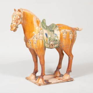 Chinese Tang Style Glazed Pottery Figure of a Caparisoned Horse