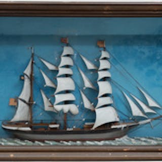 American Half Hull Shadowbox of a Schooner