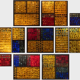 Group of Eleven French Iron and Glass French Panels