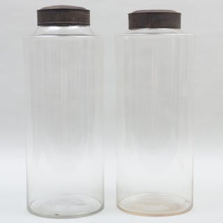 Two Tall Blown Glass Jars with Two Tin Lids